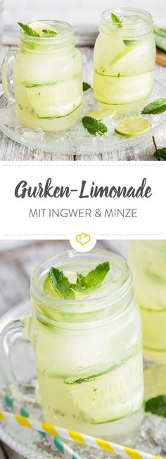 Gurken-Ingwer-Limonade mit frischer Minze und Honig Lemonade and cucumber – the two have searched and found each other. Together with ginger, mint and honey, this creates a wonderfully refreshing drink. Vegetable Drinks, Non Alcoholic Drinks, Healthy Eating Tips, Refreshing Drinks, Food Items, Diy Food, Smoothie Recipes, Smoothies, Cucumber