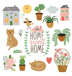 Home sweet home set of drawings vector by Lenlis on VectorStock®
