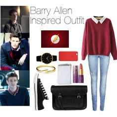 Barry Allen Inspired Outfits by sophie-irwin on Polyvore featuring ONLY, Converse, The Cambridge Satchel Company, Larsson & Jennings, Dogeared, tarte, GetTheLook, flash and barryallen