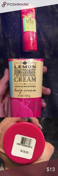 Lemon pomegranate cream body cream bath and body Bath and body works lemon pomegranate cream triple moisture body cream. Brand new.  Bundle for deals!!! PRICE FIRM UNLESS BUNDLED!! I will also trade! :) PINK Victoria's Secret Other