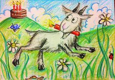 Der stinkende Geissbock geht an einen Geburtstag mit Neocolor gemalt
