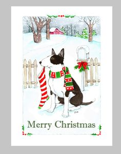 Bull Terrier Christmas Cards Box of 16 by Judzart on Etsy
