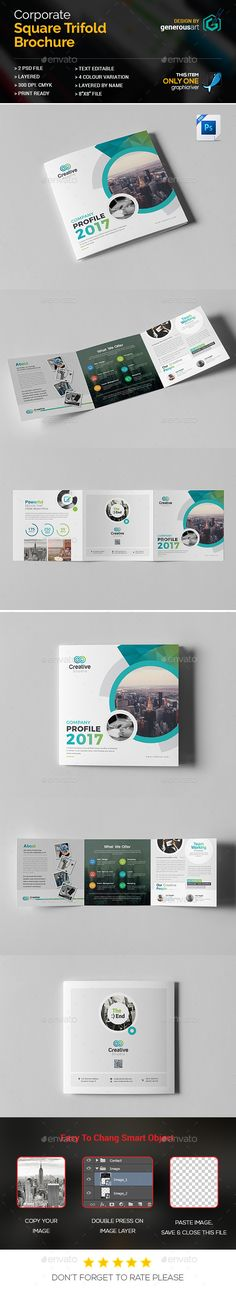 Company Profile Square Tri-Fold #Brochure - Brochures Print #Templates Download here: https://graphicriver.net/item/company-profile-square-trifold-brochure/20171556?ref=alena994