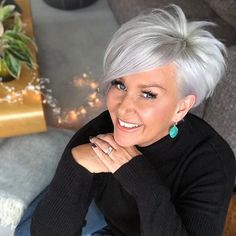 tunsori coafura emilia I love a black roll neck and I like to jazz it up with a bright pair of earri Pixie Haircut For Thick Hair, Short Pixie Haircuts, Short Hairstyles For Women, Cool Hairstyles, Grey Bob Hairstyles, Funky Haircuts, Wedge Hairstyles, Boy Haircuts, Hairstyle Short