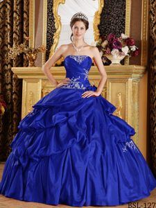 Royal Blue Ball Gown Floor-length Taffeta Appliques Quince Dresses ...