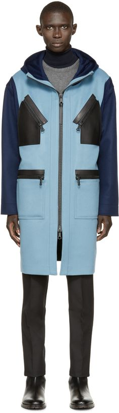 Valentino: Blue & Green Coloblock Caban Coat | SSENSE