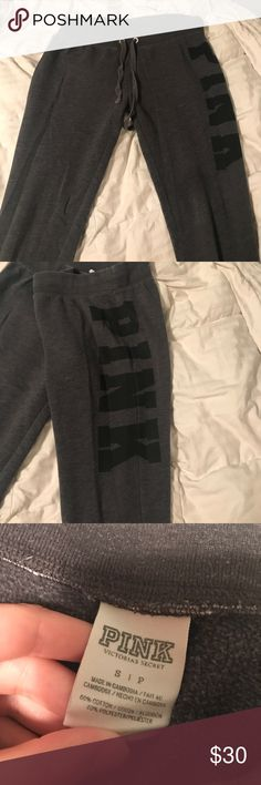 PINK sweatpants Grey PINK sweatpants, worn a handful of times, great condition PINK Victoria's Secret Pants