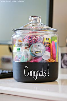 I made this new job gift in a chalkboard jar using fabulous products from Office Depot as part of a sponsored post for Socialstars. #GearLove Anyone else get totally giddy over new office...