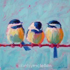 Chickadees - Original Painting - 10x10. $45.00, via Etsy.