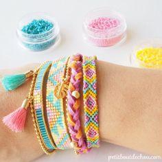 DIY bracelet multirangs brésilien, tresse et tissage miyuki