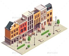 Buy City Street Isometric Composition by macrovector on GraphicRiver. Modern city street isometric view with 5 colorful terraced houses lanterns benches outdoor bistro tables vector illus. Villa Minecraft, Minecraft Modern City, Minecraft City Buildings, Minecraft Blueprints, Minecraft Designs, Minecraft Projects, Isometric Map, Isometric Design, 3d Modellierung