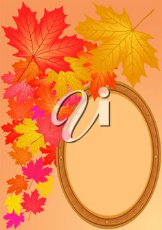 iCLIPART - Clip Art Illustration of Autumn Maple Leaves and a Wooden Frame