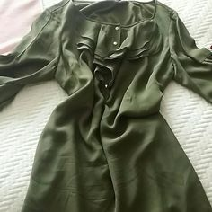 "Selling this ""Green, silk dress, over the knees"" in my Poshmark closet! My username is: atabacaru. #shopmycloset #poshmark #fashion #shopping #style #forsale #Tibi #Dresses & Skirts"