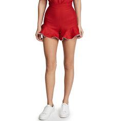 Ewa Herzog Linen Shorts ($360) ❤ liked on Polyvore featuring shorts, red, linen shorts, red shorts and red linen shorts
