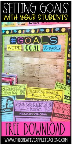 Teach your students how to set goals from reading, assessments, and academics. Download FREE goal bulletin board letters. Learn how this fifth grade teacher conferences with students and helps them set goals in the 课堂。