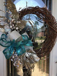 Floral wreath aqua and gold wreath snowman wreath front