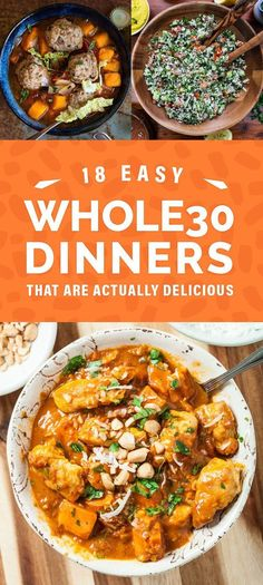 We don't eat whole 30...but several of these look really good! 18 Easy Whole30 Dinners That Are Actually Delicious