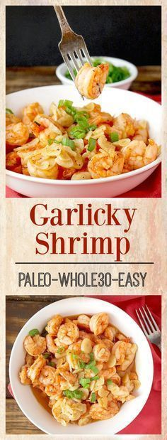 Garlicky Shrimp- healthy, easy, quick, and so delicious! Paleo, Whole30, gluten free and dairy free! Makes a perfect appetizer or dinner.