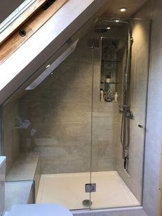 attic renovation half baths #atticremodelmancave #atticrenovationmancave Attic Shower, Small Attic Bathroom, Attic Master Bedroom, Loft Bathroom, Attic Bedrooms, Upstairs Bathrooms, Bedroom Loft, Bathroom Interior, Bathroom Modern