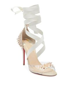 These Christian Louboutin Nude Barbarissima 100 Platine Gold Pvc Lace Up Sandal Stiletto Heel Pumps Size EU (Approx. US Regular (M, B) are a top 10 member favorite on Tradesy. Stilettos, Pumps Heels, Stiletto Heels, Red Louboutin, Christian Louboutin Shoes, Lace Up Sandal Heels, Red Sandals, Red Sole, Womens High Heels