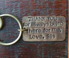 Key Chain for Brother.Gift for Brother.Brother of the Bride.Handstamped Personalized.Brotherly Love.Gift for Brother by Sister.Got Keys.Cool by RaiseMyGlass on Etsy