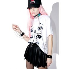 Anime Crybaby Tee ($35) ❤ liked on Polyvore featuring tops, t-shirts, white tee, white top, lace top, white lace tee and lace t shirt