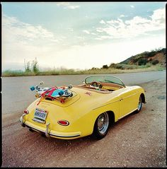"""GREETINGS FROM CALIFORNIA""  CALI STYLE  356 SPEEDSTER / DOWNHILL SKATEBOARD  Nice Pegasus Vintage Porsche Sticker..... #porsche"