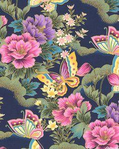 Nobu Fujiyama Butterfly Fantasy - Peony Visitors - Dk Blue/Gold