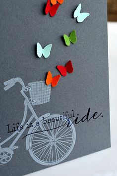 Jessica W : Pedal Pusher - PTI may 2013 release.  Fresh Snow ink on Smokey Shadow.  Such a pretty card.