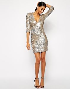 Image 4 of TFNC Bodycon Sequin Dress With Deep Plunge Neckline