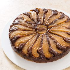 Pear walnut upside down cake