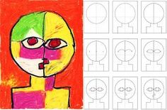 Paul Klee felt that color played a very important role in modern art. Here's a way to draw a portrait in his style. 1. Fold a sheet of paper in half twice to get the guidelines shown in my diagrams.
