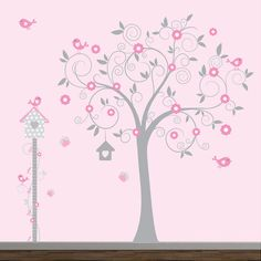 Decals-Nursery Wall Decal with Tree Decal Growth chart Birds Bird House Tree Decals, Kids Wall Decals, Nursery Wall Decals, Wall Stickers, Flower Branch, Leaf Flowers, Owl Nursery, Smooth Walls, Little Girl Rooms
