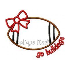 bulldog applique | ... Embroidery Design Applique Football Bow Go Bulldogs INSTANT DOWNLOAD