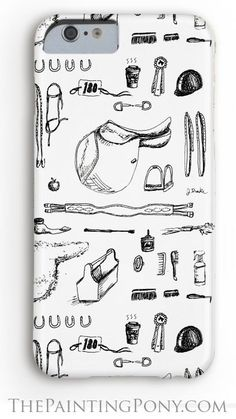 horse lover phone case - iphone or samsung galaxy style cell phone cases with an equestrian theme. Horse show essentials with pen and ink artwork depicting hunter jumper show horse tack with saddles, bridles, grooming brushes stirrups and other equestrian items in a fun pattern perfect for any english horseback riding enthusiast.