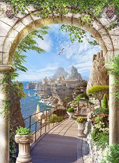 Backgrounds - Terraces and seascape, 35 JPEG, px, 300 dpi Mural Wall Art, Mural Painting, Beautiful Paintings, Beautiful Landscapes, Beautiful World, Beautiful Images, Studio Background Images, Photo Mural, Cottage Art