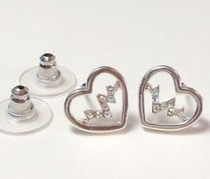 **HEART WITH AB CRYSTAL PULSE**  Nurse Silver Plated Enamel Post Earrings ~~USA