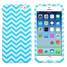 """myLife Summer Blue and Angel White {Zig Zags Chevron Waves} 2 Piece Snap-On Rubberized Protective Faceplate Case for the NEW iPhone 6 (6G) 6th Generation Phone by Apple, 4.7"""" Screen Version """"All Ports Accessible"""" myLife Brand Products http://www.amazon.com/dp/B00U0JXPJE/ref=cm_sw_r_pi_dp_u0gfvb0WTQ731"""