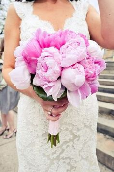 Lovely pink peony bouquet (Photo by Alyssa Maloof Photography)