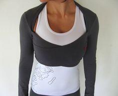 Kali - Multi-way, wrap around bolero top. Yoga top - yoga clothes - dance. Dark grey. Sizes S, M and L