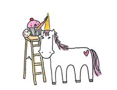 Cupcake drawing a horn on a pony
