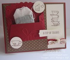 This card incorporates a tea bag making a cute little gift...The envelope that the tea bag fits into is made using Stampin' Up!'s Scallop Envelope Die...and the images & sentiment are all from Stampin' Up! stamp sets.