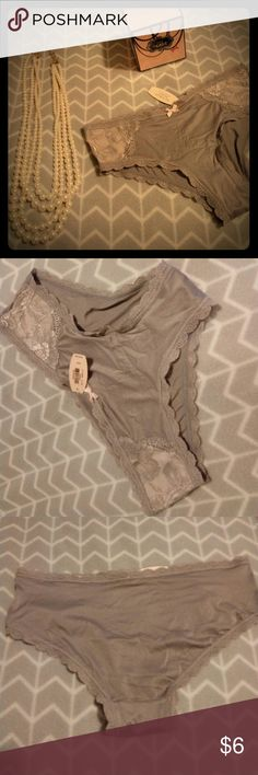 Victorias secret angels grey lace panties New with tags. Sexy grey panties with lace detail at sides and pink bow in front. Hiphugger style. 75% nylon 25% elastane.  Why not add this to a bundle for 20% off both items?! Victoria's Secret Intimates & Sleepwear Panties