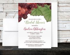 Watercolor Grapes Vineyard Bridal Shower Invitations - Illustrated Red Grapes and Green Leaves - Wine Themed - Printed Invitations