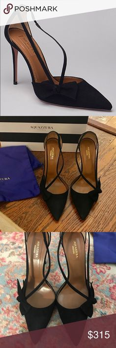 """Aquazzura Parisienne 105 Pump Black Suede Size 38 I am listing as NWT even though I wore them for 2 hours 3 days ago.  I bought them on sale at Saks - I paid $344 + Shipping & tax.  They are now final sale at Saks for $318.  Original price $795.  My asking price is fair and firm.  """"With a darling front bow design, these black suede pumps are date night ready. Pointed toe. 4"""" heel. Leather upper, lining, and sole. Made in Italy.""""  I love them.  I have wanted since last September.  But I will…"""