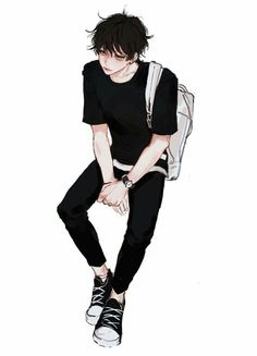 Swag anime boy with black style //. Cool Anime Guys, Handsome Anime Guys, Hot Anime Boy, Anime Art Girl, Anime Boys, Manga Boy, Manga Anime, Bebe Anime, Dossier Photo