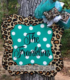 Year Round Door Hanger Sign: Leopard Print with by SparkledWhimsy