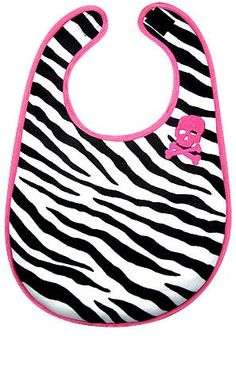 baby bib that is zebra print with a skull and crossbones. Baby Zebra, Zebra Baby Stuff, Baby Fruit, Baby Rocker, Cool Baby Stuff, Girl Stuff, Baby First Birthday, Fun Activities For Kids, Everything Baby