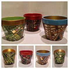 Glittering Mosaic Flower Pots Custom Colors by HamptonMosaics