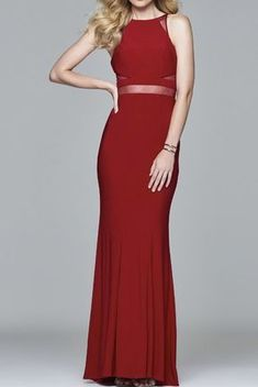 Faviana Ruby Red Halter illusion Insert Prom Dress 7921 | Poshare With a modern halter neckline and a fit and flare skirt this jersey style is ultra modern in deep ruby red. Pair this simple yet elegant style with a bold clutch or statement earrings to complete the look.